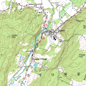 Contour line - Topographic map of Stowe, Vermont. The brown contour lines represent the elevation. The contour interval is 20 feet.