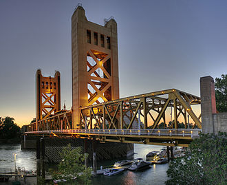 Sacramento, California - Tower Bridge, which connects Sacramento to West Sacramento, was built in 1935 and is a California Historical Landmark.