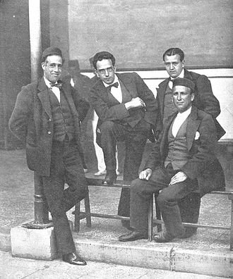 Spanish Socialist Workers' Party - Besteiro, Anguiano, Saborit and Largo Caballero in the prison of Cartagena (1918).