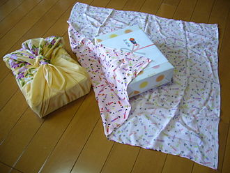 Gift wrapping - Gifts wrapped in the traditional Japanese wrapping called Furoshiki.