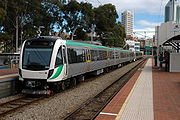 A modern EMU rapid transit commuter train operating on the Transperth system in Perth, Western Australia