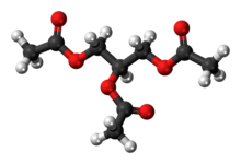 Ball-and-stick model of the triacetin molecule