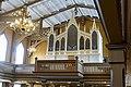 Tromsø Cathedral (domkirke) Norway interior. Gallery, Claus Jensen organ (orgel) 1863, chandelier (lysekrone), timber roof truss (takstoler) etc Wooden Gothic Revival style church 1861 2019-04-04 DSC02236.jpg