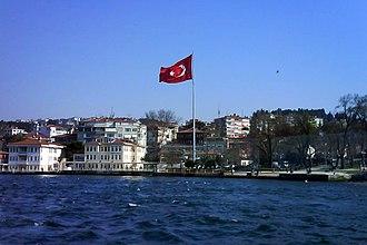 Flag of Turkey - Image: Turkish flag Bosphorus