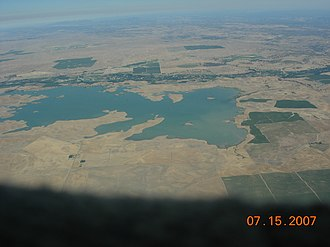 Turlock Lake State Recreation Area - Aerial view, with Turlock Lake State Recreation Area in upper left area of reservoir.