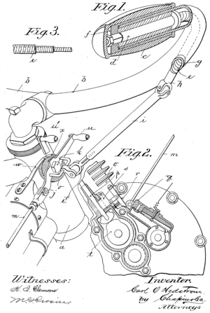 Twistgrip - Patent drawing from US Patent 765138 which was held by Indian
