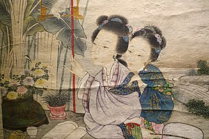 Gai Qi - Two Beauties in a Garden, detail