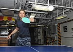 U.S. Navy Aviation Electronics Technician 3rd Class Chadd Russell plays pingpong on the forward mess decks of the aircraft carrier USS Nimitz (CVN 68) Aug. 20, 2013, in the Gulf of Oman 130820-N-ZG290-032.jpg