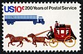 U.S. Postal Service Bicentennial Stagecoach and Trailer Truck 10c 1975 issue stamp.jpg
