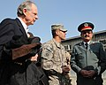 U.S. Rep. Michael N. Castle talks with Afghan Brig. Gen. Khudadad Agah with the assistance of translator U.S. Army Spc. Mohamad Azimi, at the Central Training Facility (4278145153).jpg