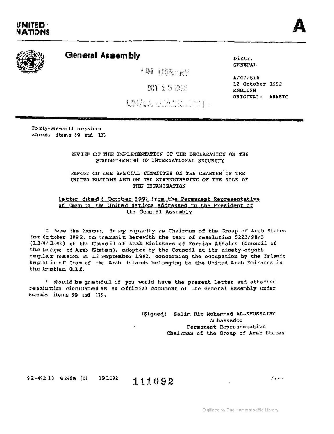 FileUN DOC A 47 516 Letter Dated 1992 October 6 From The Permanent Representative Of Oman To United Nations Addressed President General