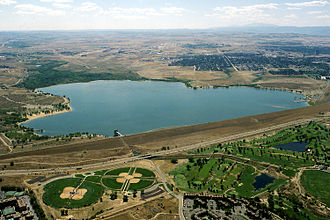 Cherry Creek (Colorado) - Cherry Creek Dam and reservoir. View is to the south.