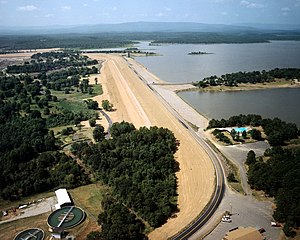 Lake Wister - Aerial view of lake and Wister Dam