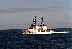 USCGC Mellon (WHEC-717) shown with Harpoon missile aft of 76mm gun.