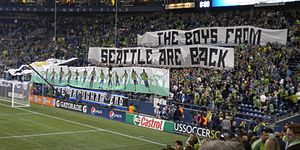 2010 Lamar Hunt U.S. Open Cup Final - The Emerald City Supporters display a tifo prior to kickoff of the 2010 U.S. Open Cup final.