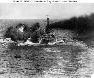 USS North Dakota (BB-29) - North Dakota firing a broadside