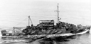 USS Rednour (APD-102) underway in the Atlantic Ocean on 20 February 1945 (80-G-384565)