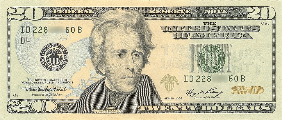 US $20 Series 2006 Obverse