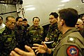 US Navy 040321-N-3614M-002 Republic of Korea Army Gen. Il-Soon Shin, Deputy Commander, Combined Forces Command Korea, discuses the F-A-18F Super Hornet with Cmdr. Michael Vizcarra, Commanding Officer, Strike Fighter Squadron On.jpg