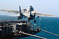US Navy 040321-N-6653C-027 An F-14B Tomcat assigned to the Red Rippers of Fighter Squadron One One (VF-11) launches off the bow of USS George Washington (CVN 73) for a training mission.jpg