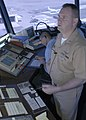 US Navy 050405-N-7281D-016 Chief Air Traffic Controller Scott Hillegist, observes aircraft as he clears them for takeoff and landing in the control tower on board Naval Air Station North Island, Calif.jpg
