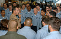 US Navy 050910-N-2699R-032 Chief of Naval Operations (CNO) Adm. Michael G. Mullen talks to chief petty officer selectees about what will be expected of them when they receive their anchors and become chief petty officers.jpg