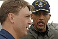 US Navy 061205-N-8148A-028 Montel Williams interviews Cmdr. James Morgan, the commanding officer of guided-missile cruiser USS Howard (DDG 83).jpg