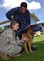 US Navy 070814-N-4954I-010 U.S. Army veterinarian Capt. Therese Kreutzberg listens to a heart of a German Shepherd with the local police canine unit.jpg