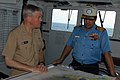 US Navy 070904-N-5242D-079 Rear Adm. Terry Blake, commander of Carrier Strike Group 11, discusses operations with Rear Adm. Robin Dhowan, commander-in-chief of the Indian Eastern Fleet, aboard Indian Navy aircraft carrier INS V.jpg