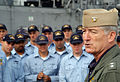 US Navy 071015-N-0807W-050 Rear Adm. James D. Kelly, commander of U.S. Naval Forces Japan, speaks to Sailors of USS Patriot (MCM 7) and USS Guardian (MCM 5) during an awards ceremony at Fleet Activities Yokosuka.jpg