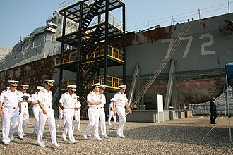 2010 in South Korea - South Korean and US Navy admirals inspecting the wreckage of the Cheonan at Pyeongtaek on September 13, 2010.