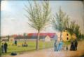 Ukendt kunstner - Personer foran Gjedved Friseminarium og avlsgård.png