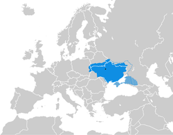 Ukrainian State on the map of Europe