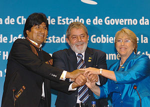 History of Latin America - Left-leaning leaders of Bolivia, Brazil and Chile at the Union of South American Nations summit in 2008