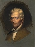 Oil sketch of Daniel Boone by Chester Harding, the only portrait of Boone painted from life.