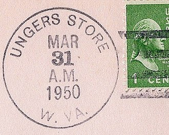 Unger, West Virginia - Image: Unger Store WV Postmark