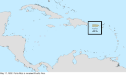 Map of the change to the United States in the Caribbean Sea on May 17, 1932