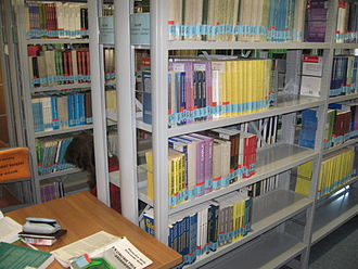 University of Łódź - A bookshelf in the open access area in the University of Lodz Library