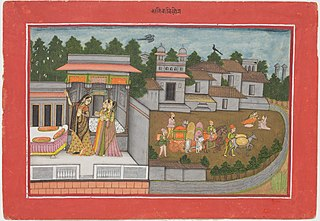 The Month of Kartik (October-November), from a manuscript of the Barahmasa (\