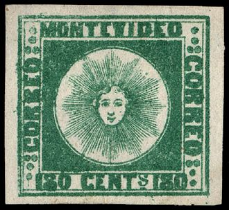 Postage stamps and postal history of Uruguay - 1858 180c green Sol de Montevideo private issue