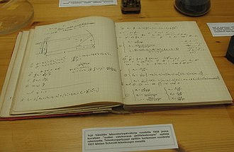 Yrjö Väisälä - A laboratory diary of Yrjö Väisälä. The text is written in 1929. On the pages seen here Väisälä describes the principle of 'a new telescope for photography'. Väisälä never published this concept and few years later Estonian Bernhard Schmidt invented the same construction which is now known as the Schmidt camera.