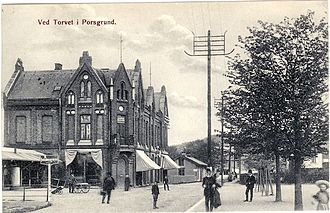 Customs House, Porsgrunn - A postcard depicting the Customs House on Storgata.  Some of the figures in the photo were added by the photographer.