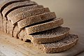 Vegan no-knead whole wheat bread loaf, sliced, September 2010.jpg