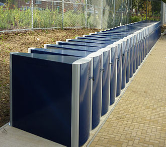 Bicycle locker - 32 Cycle-Works Velo-Safe Lockers installed at Antelope Park, Southampton, UK