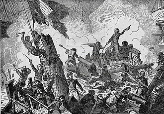 French ship Vengeur du Peuple - The crew of Vengeur du Peuple nailing the colours. This is an element of the later propaganda surrounding the event, and did not happen historically.