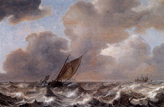 Jan Porcellis - Vessels in a Strong Wind, 1630, by Jan Porcellis