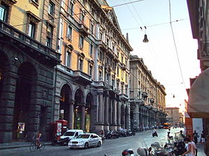 Via Aemilia - The Via Emilia as it crosses central Bologna. This modern street, known in this stretch as the Via Rizzoli, overlies the old Roman road, which dissected the Roman colony of Bononia.
