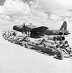 Vickers Wellington Mk II of No. 104 Squadron RAF, about to be loaded with 500-lb bombs for a sortie over the Western Desert, 1942. ME(RAF)6297.jpg