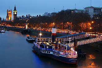 Victoria Embankment - The Westminster end of Victoria Embankment and PS Tattershall Castle, pictured in 2009.