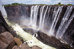 The Amazing Race 27 - While in Zambia, teams visited Victoria Falls, the largest sheet of falling water in the world.